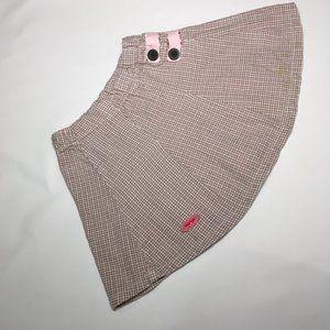 Naartjie pink and brown plaid skirt